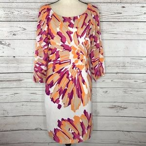 New York & Co Dress Floral Long Sleeve Scoop Neck